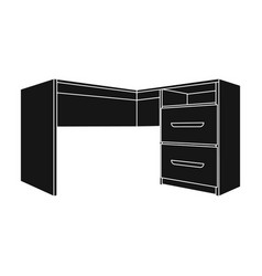 grey desk with lockersdesk for paperwork vector image