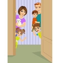 Happy family peeking behind door vector