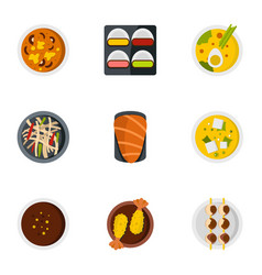 Japan food icons set flat style vector