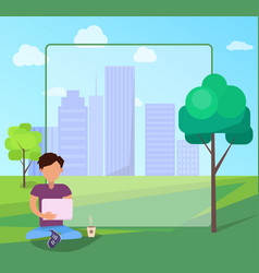male in park using modern computer technologies vector image