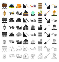Mine set icons in cartoon style big collection of vector