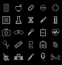 Pharmacy line icons on black background vector