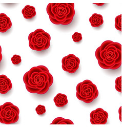 red realistic flowers seamless pattern vector image