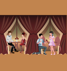 romantic evening in a restaurant or cafe vector image vector image
