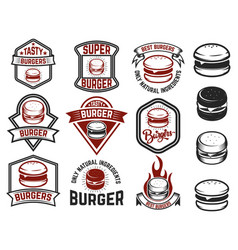 set of burger labels design elements for logo vector image vector image