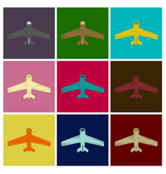 Set of flat icons in shading style aircraft vector