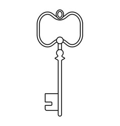 Vintage antique key contoured silhouette isolated vector