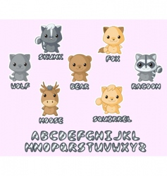 wild animals kawaii set vector image