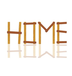 Word written in house by wood on white vector