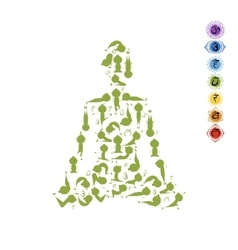 Yoga lotus pose made from asanas for your design vector