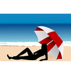 Young woman lying under an umbrella on the beach vector image vector image