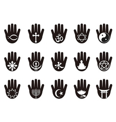 Hand with religious symbols icon vector