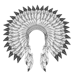Native american indian headdress with feathers vector image