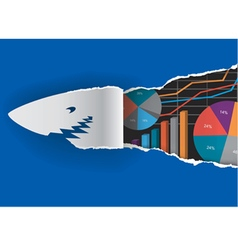Shark with economy graphs vector image