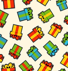 Christmas gift box patch icon pattern background vector