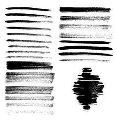 Set of different grunge brush strokes and stains vector