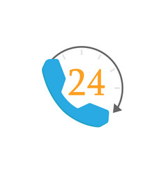 full time call services flat icon vector image