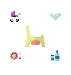 Flat infant set of cream with lotion toilet vector