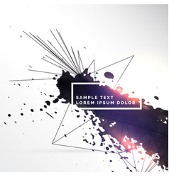 Ink splatter with abstract lines background vector