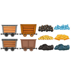 different stone and mining carts vector image
