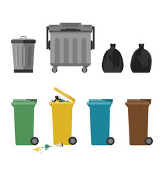 Garbage cans flat icons vector
