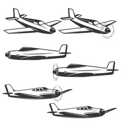 set of airplane icons isolated on white background vector image