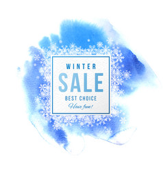 Sale banner with snowflakes over blue background vector