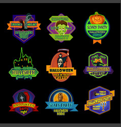 Halloween holiday night label or ghost party badge vector