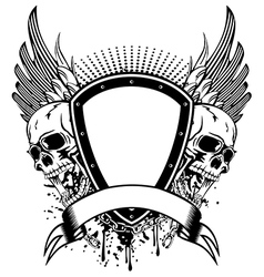 skull board and wings vector image