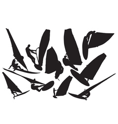 Windsurfing silhouette vector