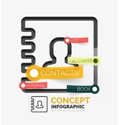 Contacts book infographics line style vector