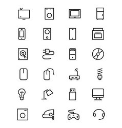 Electronics line icons 1 vector