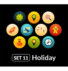 Flat icons set 11 - holiday collection vector image