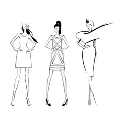 Fashion modelssketch set of women or vector