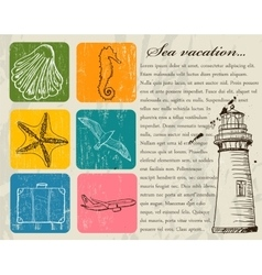 Vintage set of sea travel icons vector