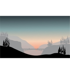 Silhouette of bridge at the morning vector