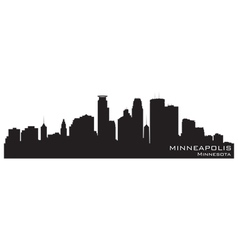 Minneapolis Minnesota skyline Detailed silhouette vector image
