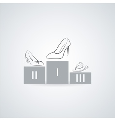 Women s shoes on a pedestal flat icon vector