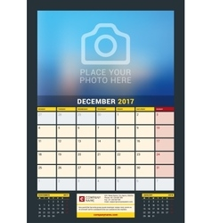 December 2017 wall calendar for 2017 year vector