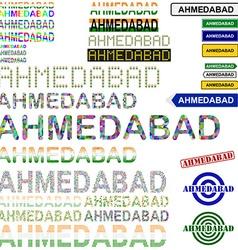 Ahmedabad text design set vector