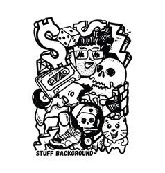 Background graffiti stickers vector
