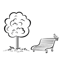 Bird on park bench and tree contour vector