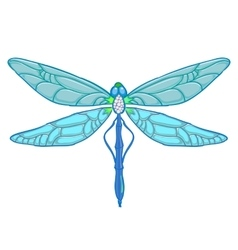 Blue Dragonfly on white background vector image vector image