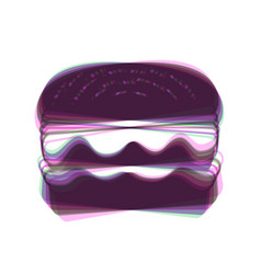 Burger simple sign colorful icon shaked vector