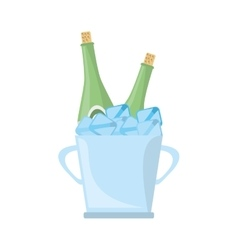 Champagne bucket bottle ice design vector