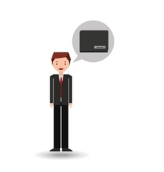 character businessman with wallet money vector image