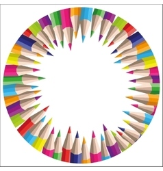 Circle background of colored pencils for vector