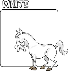 Color White and Horse Cartoon vector image