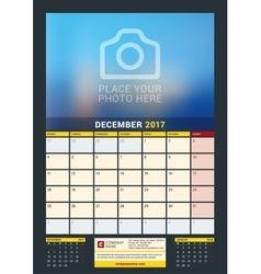 December 2017 wall calendar for 2017 year vector