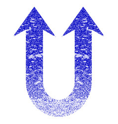 Double forward arrow grunge textured icon vector